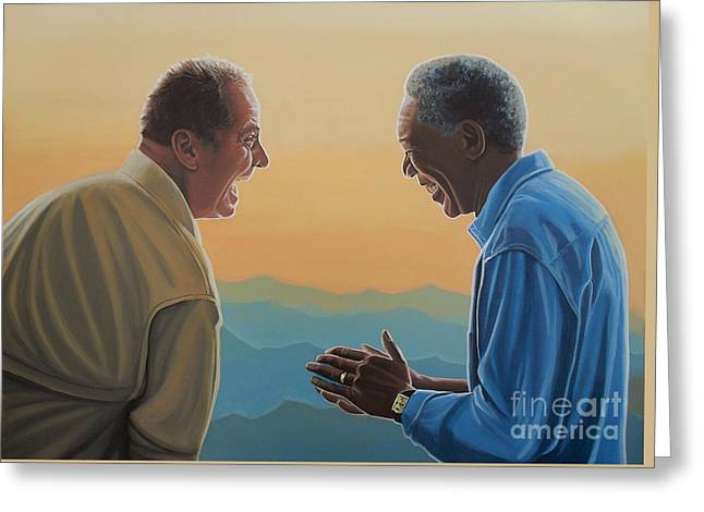 Jack Nicholson And Morgan Freeman Greeting Card by Paul Meijering