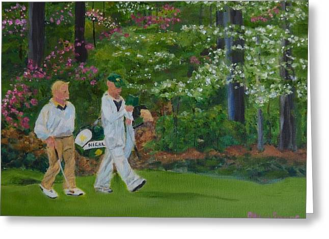 Jack Nicklaus At The Masters Greeting Card by Sally Jones