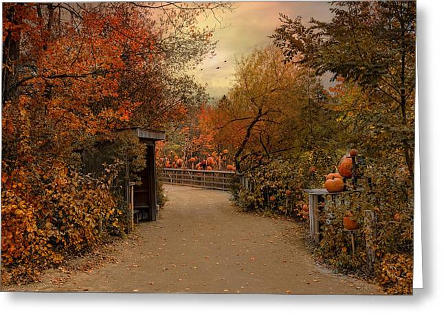 Jack-o-lantern Lane Greeting Card by Robin-Lee Vieira
