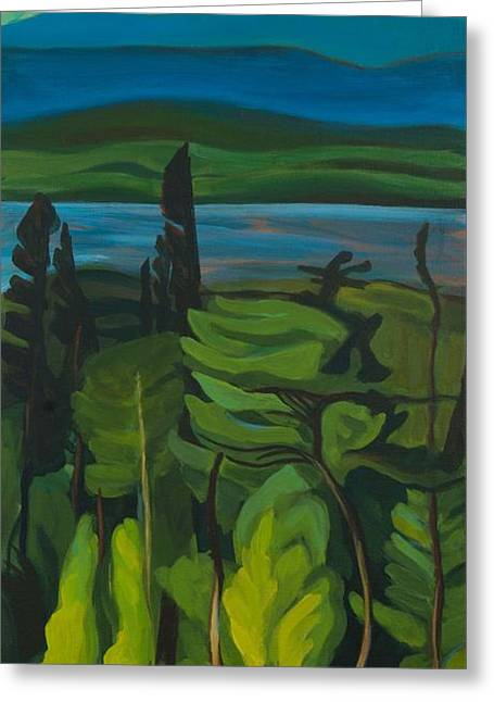 Greeting Card featuring the painting Jack Pine And Poplar Detail by Janet McDonald