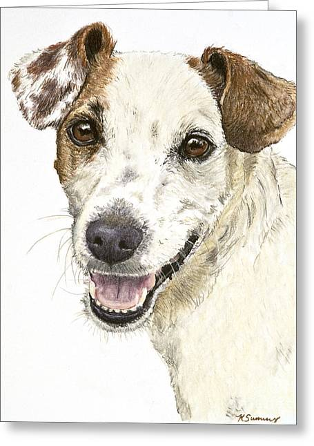 Jack Russell Terrier Portrait Greeting Card by Kate Sumners