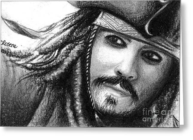 Jack Sparrow Greeting Card by Crystal Rosene
