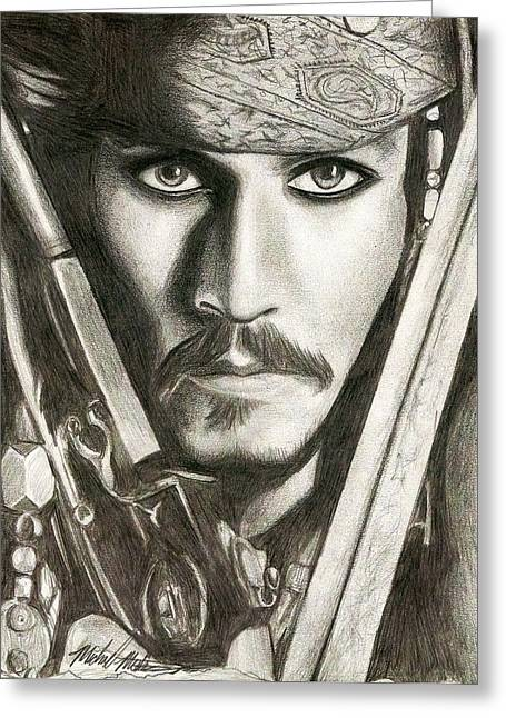 Jack Sparrow Greeting Card by Michael Mestas