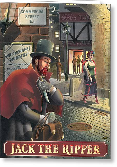 Jack The Ripper Greeting Card by Peter Green