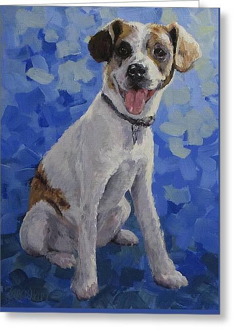 Jackaroo - A Pet Portrait Greeting Card by Karen Ilari