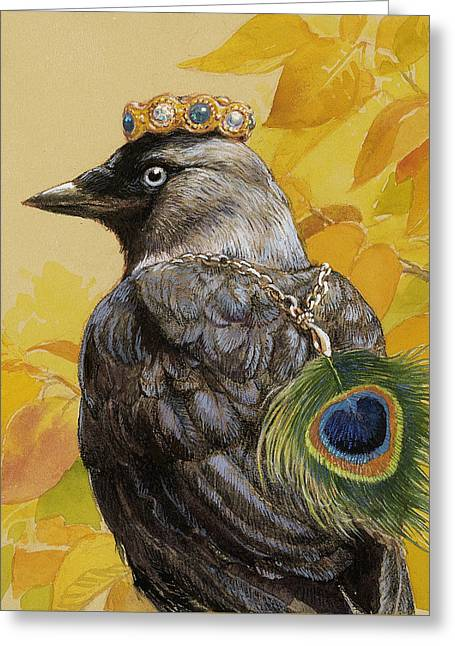 Jackdaw Triumphant Greeting Card by Tracie Thompson