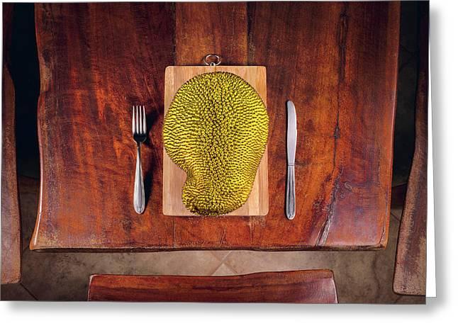 Jackfruit On Table Greeting Card by Ktsdesign