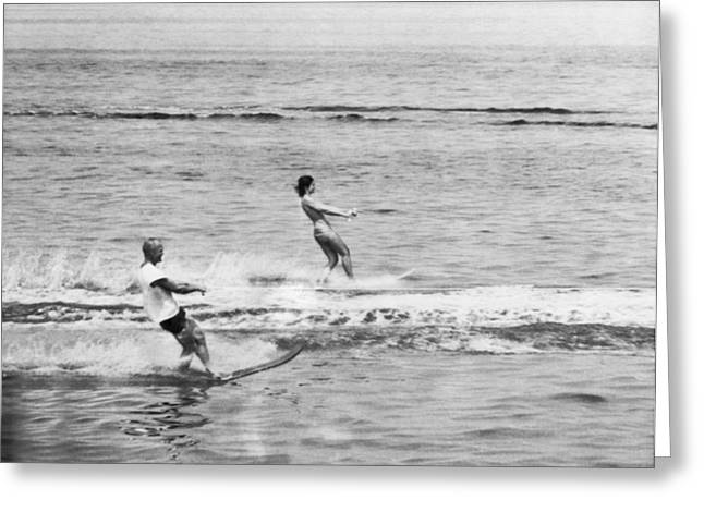 Jackie & John Glenn Water Ski Greeting Card by Underwood Archives