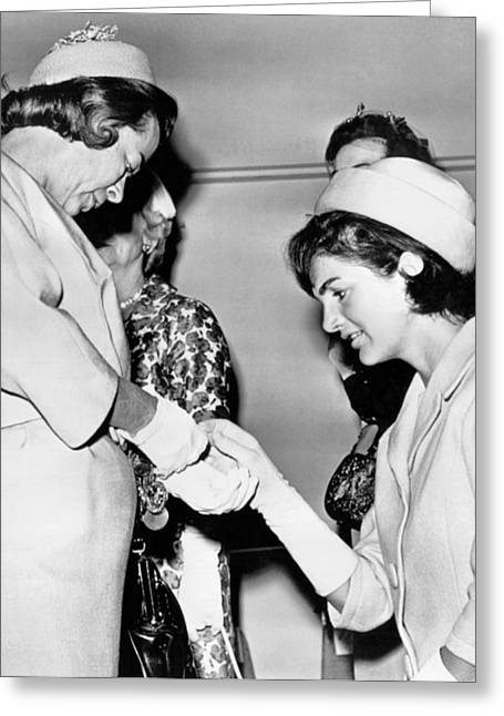 Jackie Inspects Gold Bracelet Greeting Card by Underwood Archives
