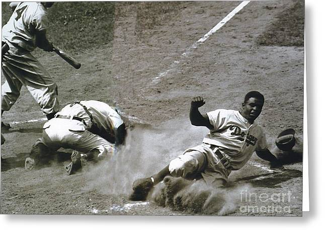 Jackie Robinson Sliding Home Greeting Card by R Muirhead Art