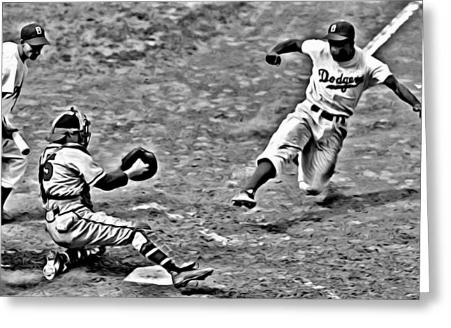 Greeting Card featuring the painting Jackie Robinson Stealing Home by Florian Rodarte