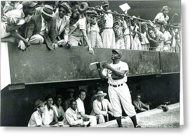 Jackie Robinson Signs Autographs Vintage Baseball Greeting Card