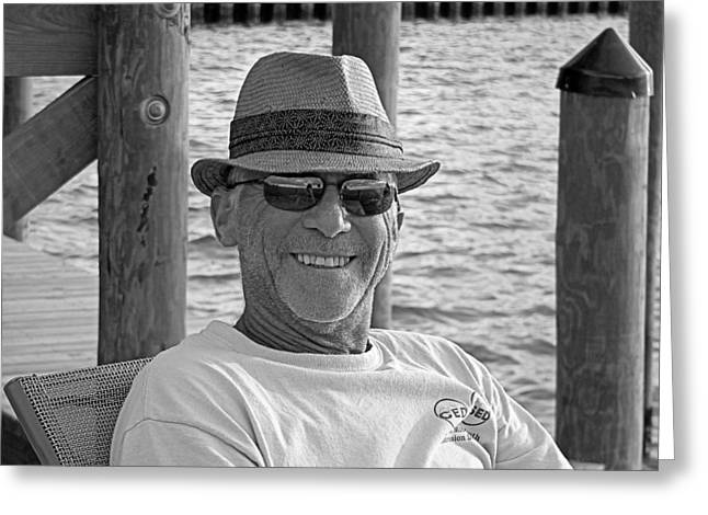 Jackie Sitting On The Dock Of The Bay Greeting Card