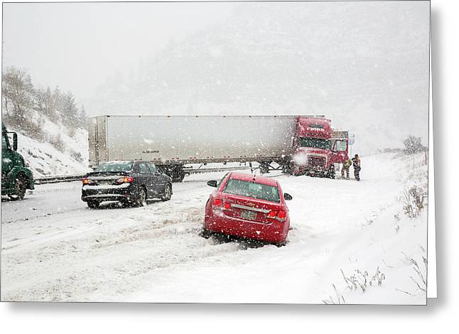 Jacknifed Truck Blocking Highway Greeting Card by Jim West