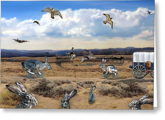 Greeting Card featuring the digital art Jackrabbit Juxtaposition  At Owyhee View by Tarey Potter