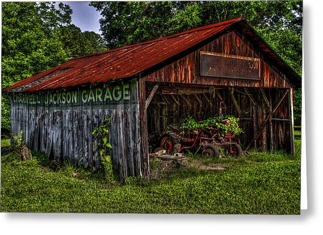 Jackson Garage Greeting Card by Russ Burch