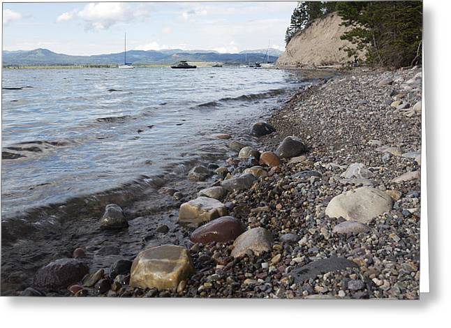 Greeting Card featuring the photograph Jackson Lake With Boats by Belinda Greb
