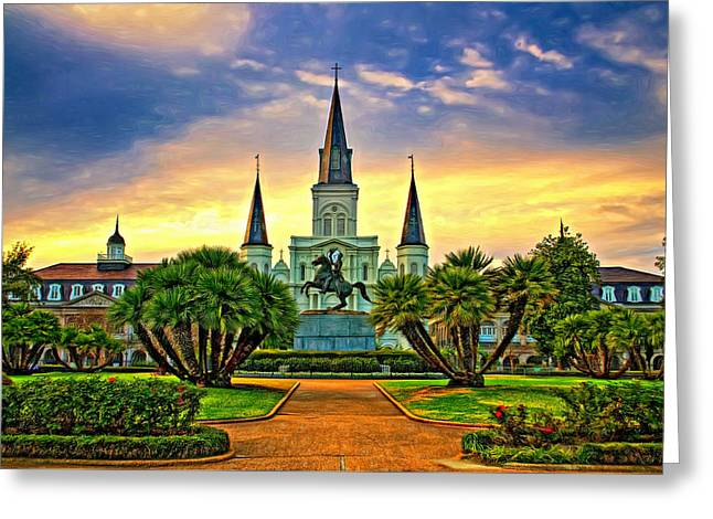 Jackson Square Evening - Paint Greeting Card