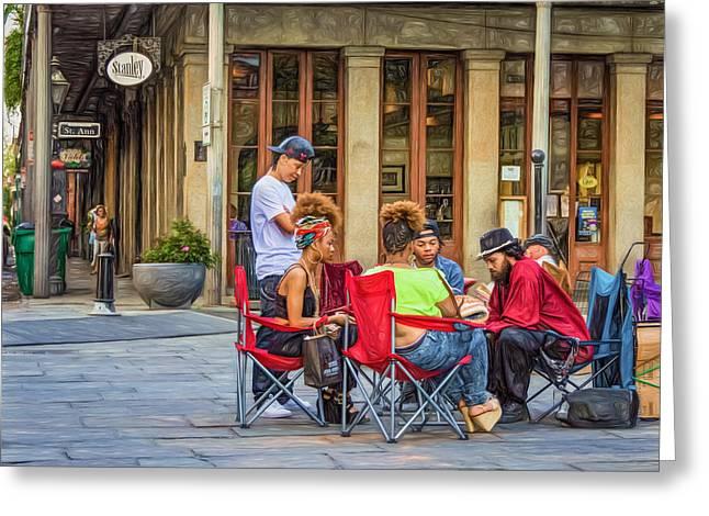 Jackson Square Reading 3 Greeting Card by Steve Harrington