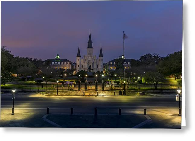 Jackson Square Sunrise Greeting Card by David Morefield