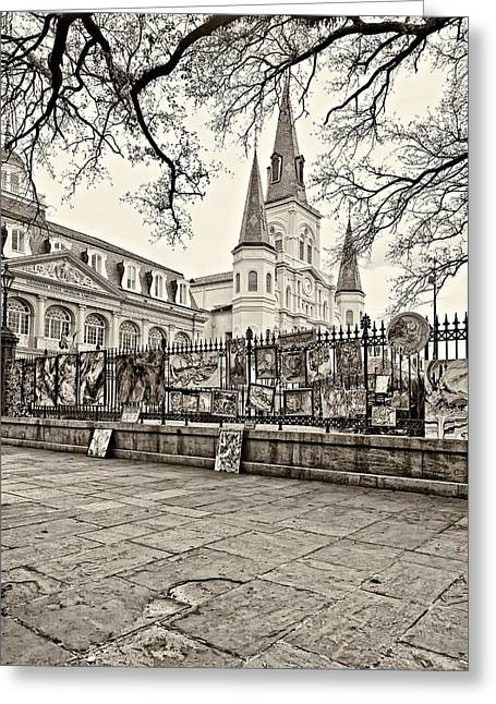 Jackson Square Winter Sepia Greeting Card