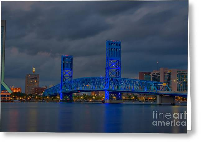 Jacksonville Blue Bridge Hdr Greeting Card