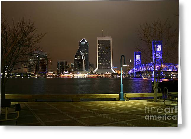 Jacksonville Riverwalk Night Greeting Card