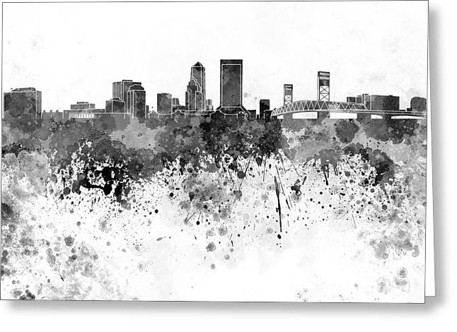 Jacksonville Skyline In Black Watercolor On White Background Greeting Card by Pablo Romero