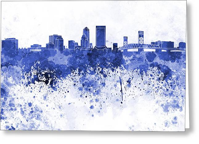 Jacksonville Skyline In Blue Watercolor On White Background Greeting Card by Pablo Romero