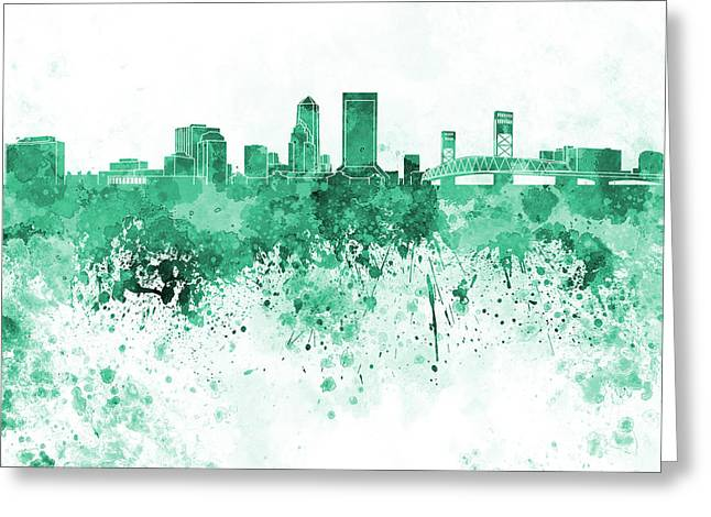 Jacksonville Skyline In Green Watercolor On White Background Greeting Card by Pablo Romero