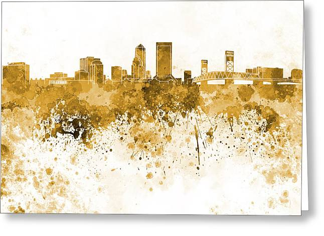 Jacksonville Skyline In Orange Watercolor On White Background Greeting Card by Pablo Romero