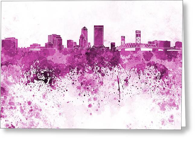 Jacksonville Skyline In Pink Watercolor On White Background Greeting Card by Pablo Romero