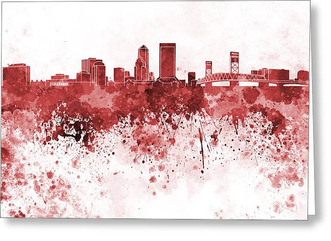 Jacksonville Skyline In Red Watercolor On White Background Greeting Card by Pablo Romero