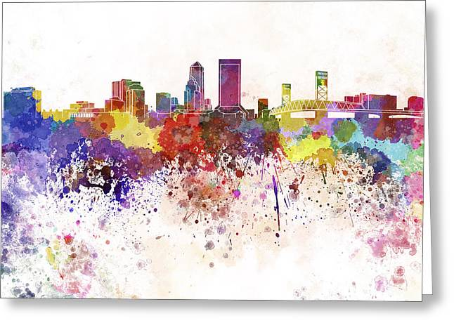 Jacksonville Skyline In Watercolor On White Background Greeting Card by Pablo Romero