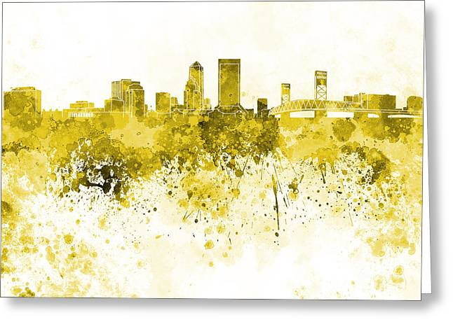 Jacksonville Skyline In Yellow Watercolor On White Background Greeting Card by Pablo Romero