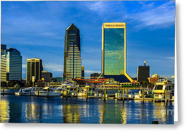 Greeting Card featuring the photograph Jacksonville Skyline Sunset by Paula Porterfield-Izzo