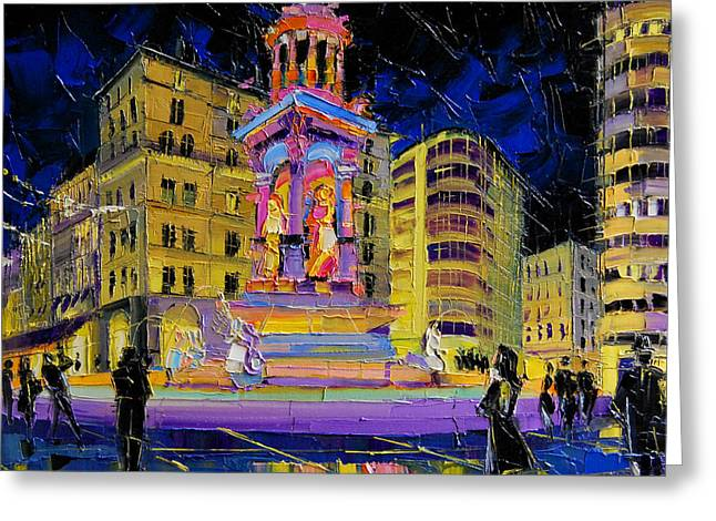 Jacobins Fountain During The Festival Of Lights In Lyon France  Greeting Card