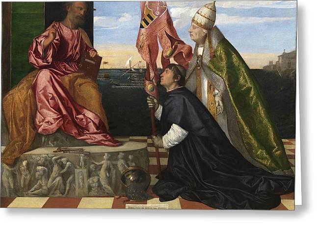 Jacopo Pesaro Being Presented To Saint Peter Greeting Card