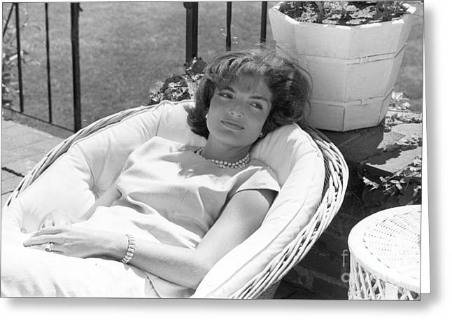 Jacqueline Kennedy Relaxing At Hyannis Port 1959. Greeting Card