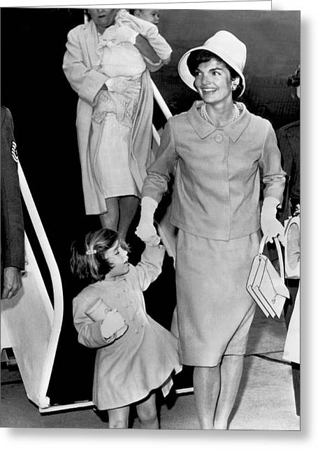 Jacqueline Kennedy With Child Greeting Card by Underwood Archives