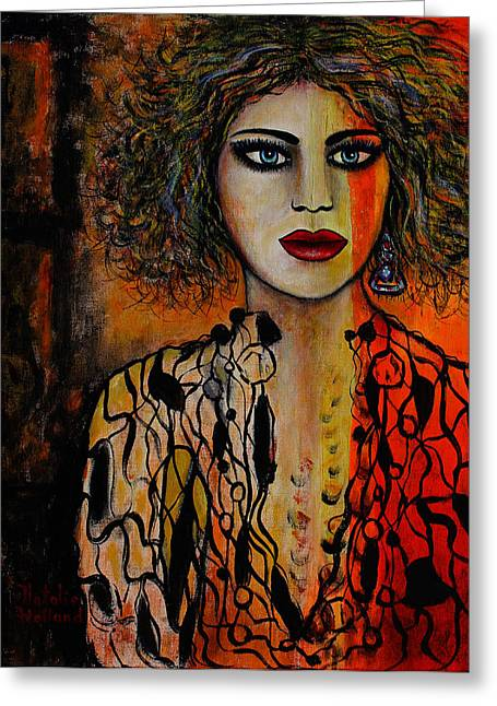 Jacquelyn Greeting Card by Natalie Holland