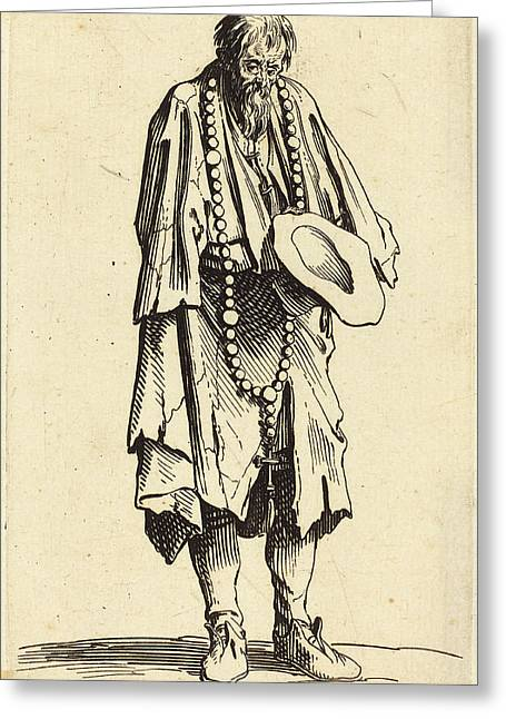 Jacques Callot French, 1592 - 1635, Beggar With Rosary Greeting Card