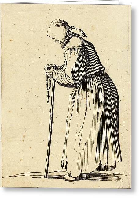 Jacques Callot French, 1592 - 1635, Beggar Woman With Rosary Greeting Card