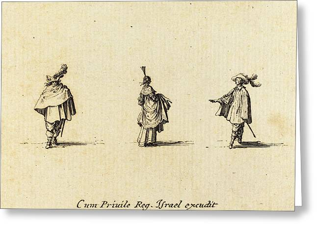 Jacques Callot French, 1592 - 1635, Lady With Dress Greeting Card by Quint Lox