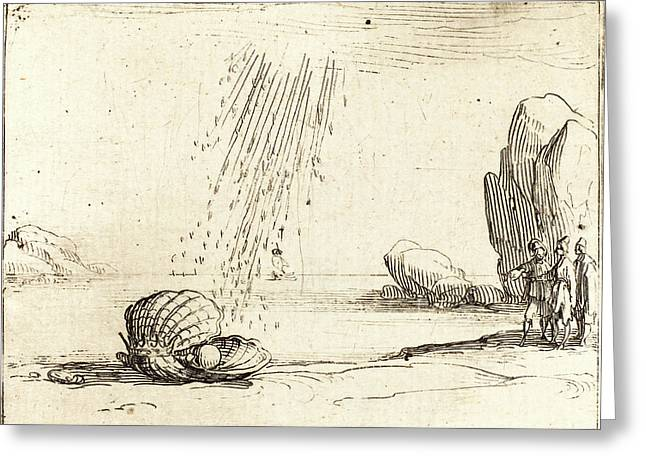 Jacques Callot, French 1592-1635, Oyster With Pearl Greeting Card by Litz Collection