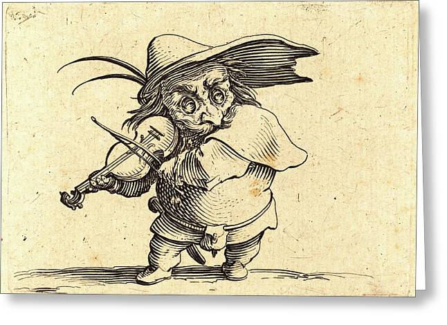 Jacques Callot, French 1592-1635, The Violin Player Greeting Card by Litz Collection