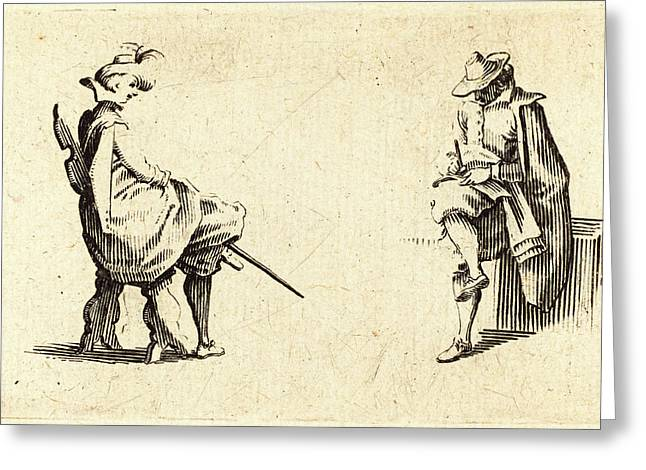Jacques Callot, French 1592-1635, Two Seated Figures Greeting Card