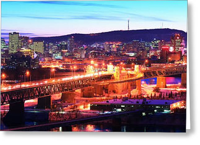 Jacques Cartier Bridge With City Lit Greeting Card