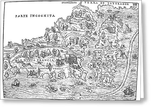 Jacques Cartier Map, 1566 Greeting Card