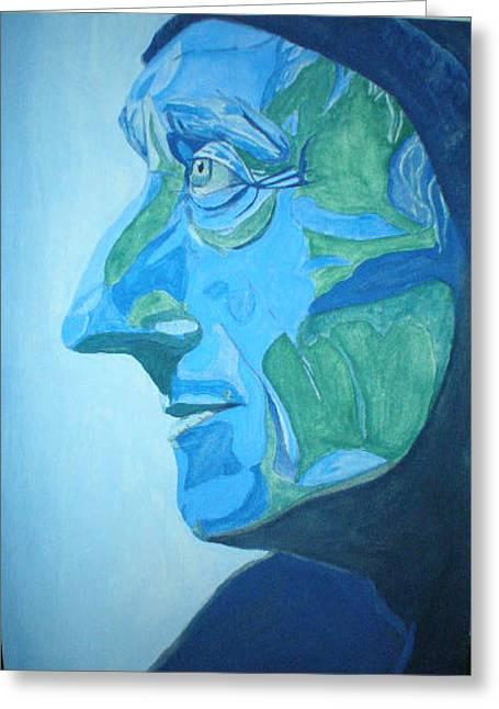 Jacques Cuso En Blue Greeting Card by Steve Spagnola